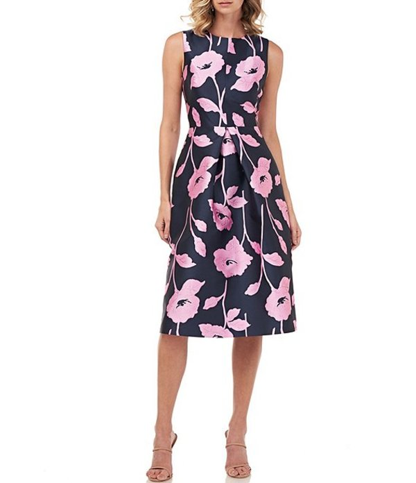 ケイ アンジャー レディース ワンピース トップス Nola Floral Jacquard Sleeveless Fit & Flare Midi Dress Navy/Pink