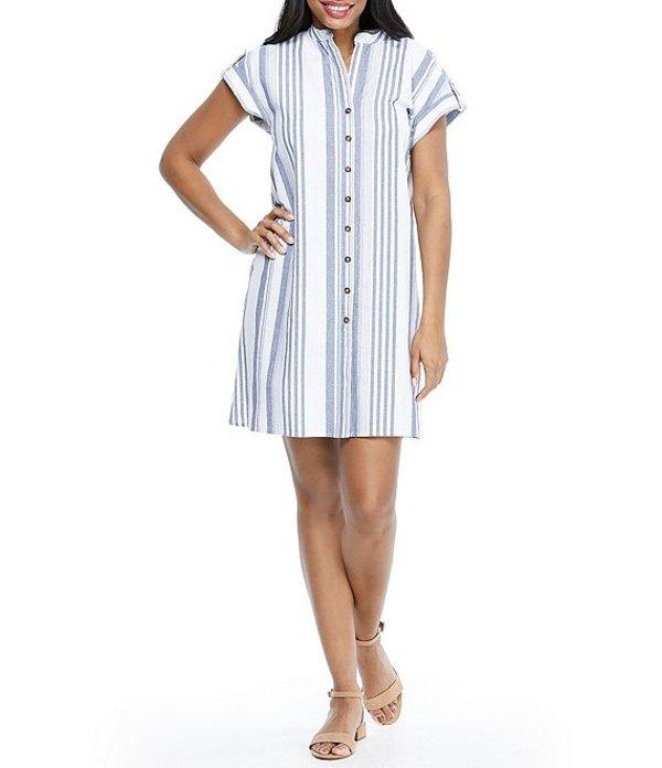 ロンドンタイムス レディース ワンピース トップス Striped Cotton Button Front Shirt Dress Blue/White