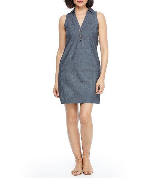 ロンドンタイムス レディース ワンピース トップス Button Front Woven Shirt Dress Denim