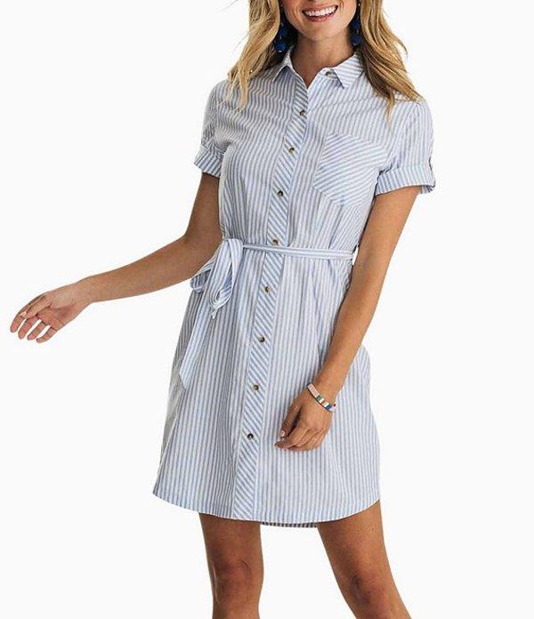 サウザーンタイド レディース ワンピース トップス Franca Stripe Print Belted Shirtdress Boat Blue