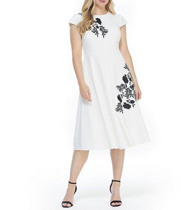 マギーロンドン レディース ワンピース トップス Floral Embellished Scuba Crepe Midi Dress Ivory