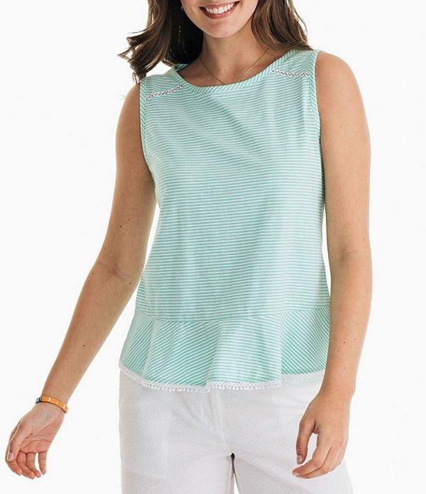 サウザーンタイド レディース Tシャツ トップス Elena Cotton-Blend Stripe Knit Peplum Hem Top Bermuda Teal