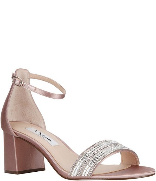 ニナ レディース サンダル シューズ Elenora Rhinestone-Embellished Satin Ankle Strap Block Heel Dress Sandals Latte Satin