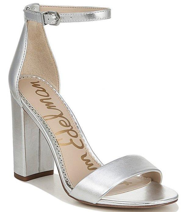 サムエデルマン レディース サンダル シューズ Yaro Leather Ankle Strap Block Heel Dress Sandals Silver