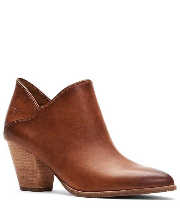 フライ レディース ブーツ・レインブーツ シューズ Reed Leather Block Heel Booties Caramel