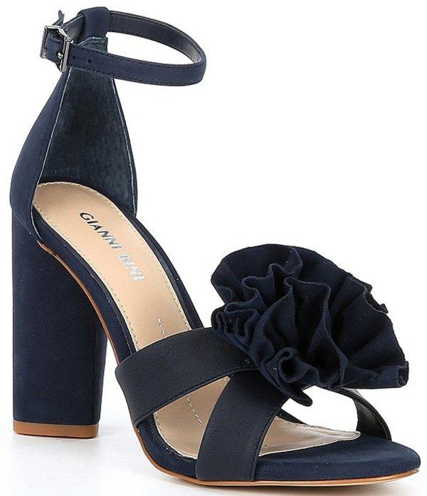 ジャンビニ レディース サンダル シューズ Rhosiee Flower Pom Block Heel Sandals New Navy
