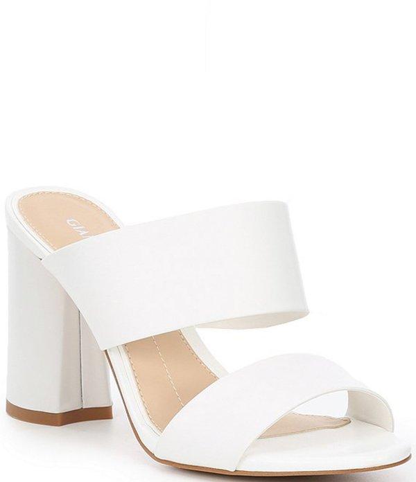 ジャンビニ レディース サンダル シューズ Everleen Leather Banded Block Heel Mules White