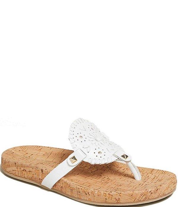 ジャックロジャース レディース サンダル シューズ Georgica Cork Leather Thong Sandals White