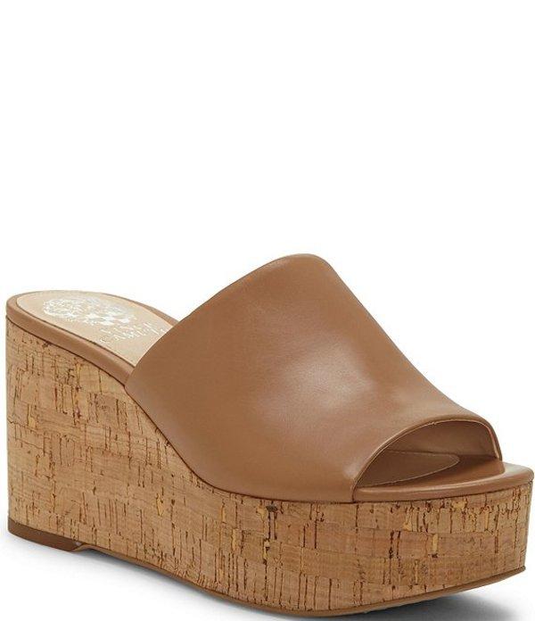 ヴィンスカムート レディース サンダル シューズ Gadgen Leather Cork Platform Wedge Slides Spiced Sand