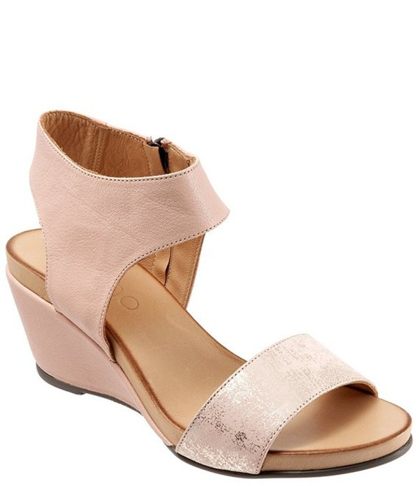 ブエノ レディース サンダル シューズ Ida Leather Wedge Sandals Pale Pink/Rose Metallic