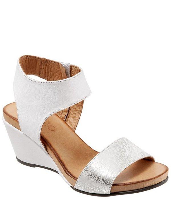 ブエノ レディース サンダル シューズ Ida Leather Wedge Sandals White/Silver