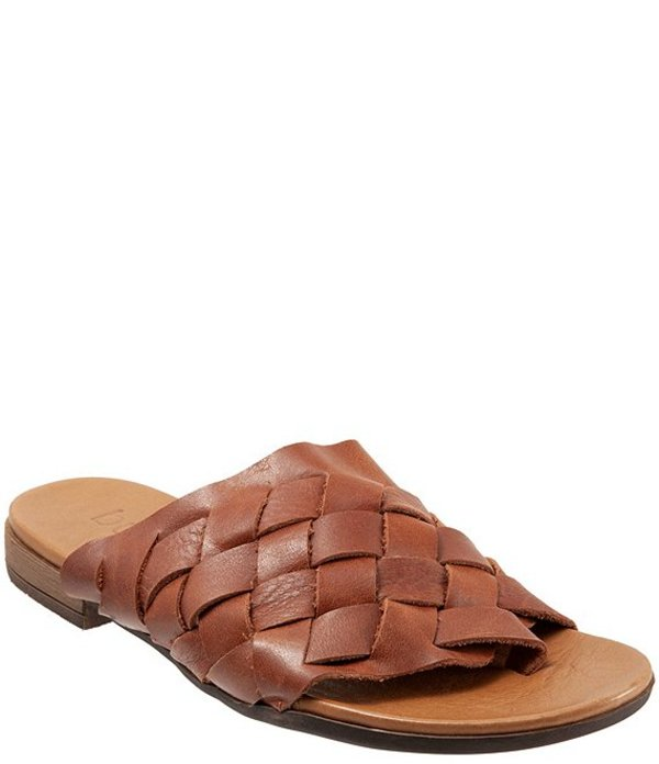 ブエノ レディース サンダル シューズ Tory Woven Leather Thong Slide Sandals Tan