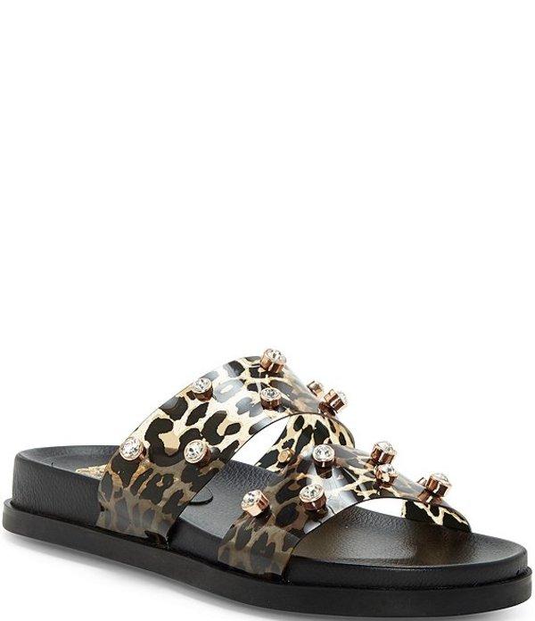 ヴィンスカムート レディース サンダル シューズ Partha Leopard Print Jeweled Slide Sandals Leopard