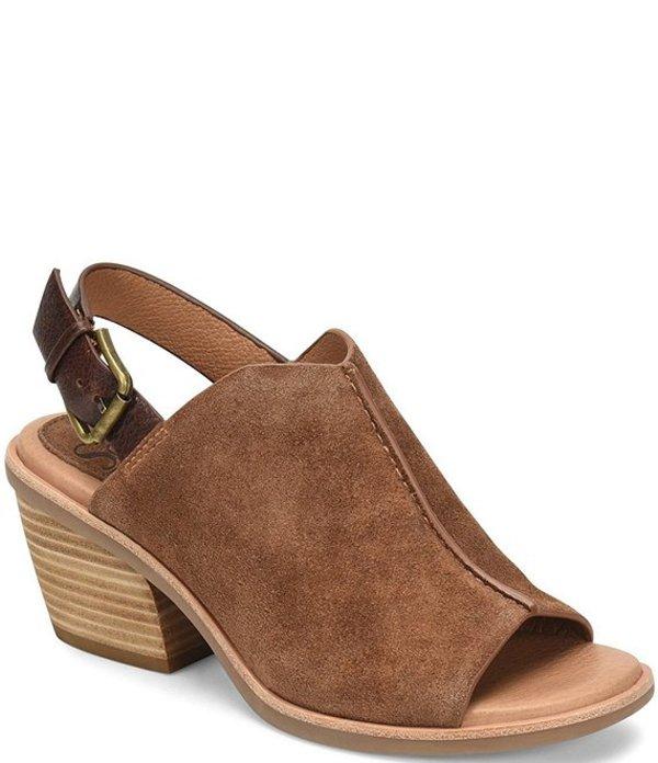 ソフト レディース サンダル シューズ Pelonia Suede Leather Slingback Stacked Heel Sandals Light Brown