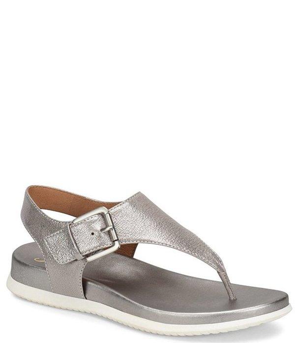 ソフト レディース サンダル シューズ Farlyn Metallic Leather T-Strap Sandals Anthracite