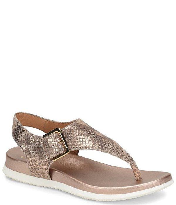 ソフト レディース サンダル シューズ Farlyn Metallic Leather T-Strap Sandals Gold