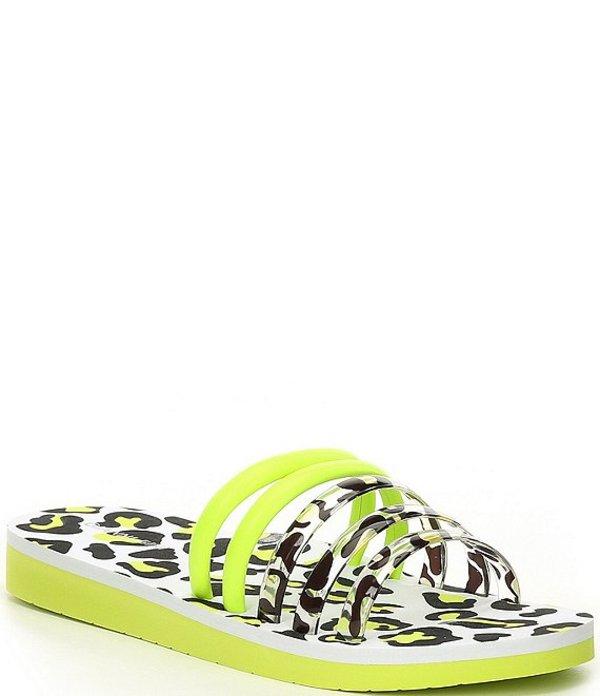 ジャンビニ レディース サンダル シューズ Suhmma Clear Leopard Print Band Slides White/Glow Stick Yellow