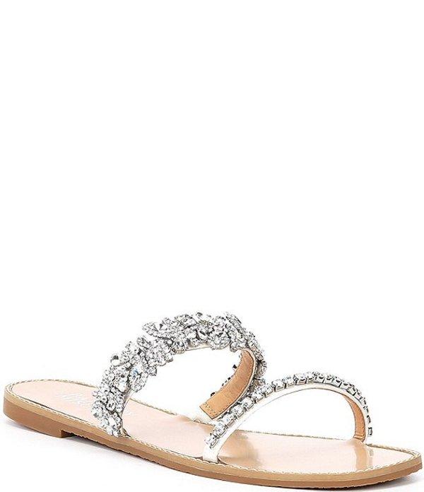 バッジェリーミシュカ レディース サンダル シューズ Jenelle Crystal Embellished Leather Jewel Sandals White