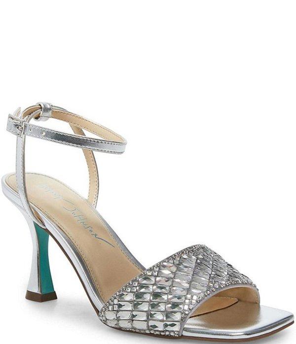 ベッツィジョンソン レディース サンダル シューズ Blue by Betsey Johnson Britt Rhinestone Square Toe Sandals Silver