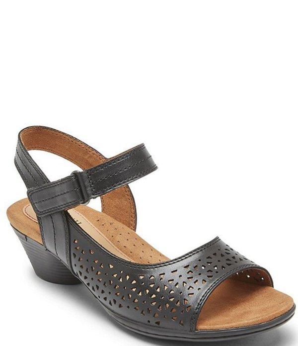 ロックポート レディース サンダル シューズ Cobb Hill Laurel Instep Perforated Leather Strap Sandals Black
