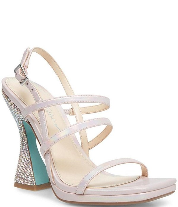 ベッツィジョンソン レディース サンダル シューズ Blue by Betsey Johnson Pacey Square Toe 3-Band Rhinestone Heel Sandals Petal Pink