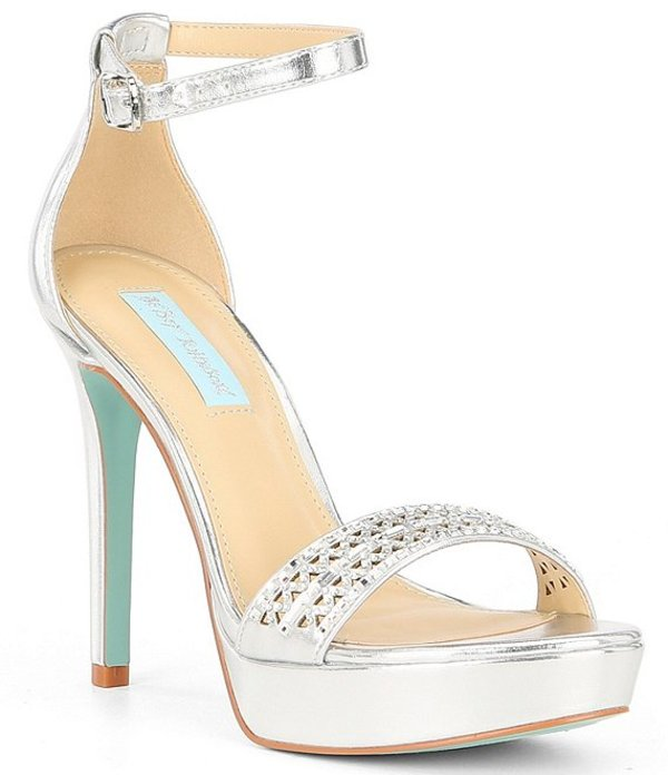 ベッツィジョンソン レディース サンダル シューズ Blue by Betsey Johnson Alma Metallic Leather Embellished Platform Dress Sandals Silver