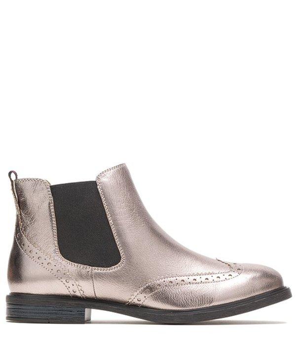 ハッシュパピー レディース ブーツ・レインブーツ シューズ Bailey Leather Chelsea Block Heel Booties Gunmetal Metallic Leather