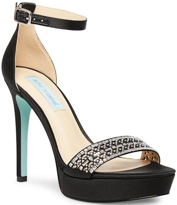 ベッツィジョンソン レディース サンダル シューズ Blue by Betsey Johnson Alma Satin Embellished Platform Dress Sandals Black