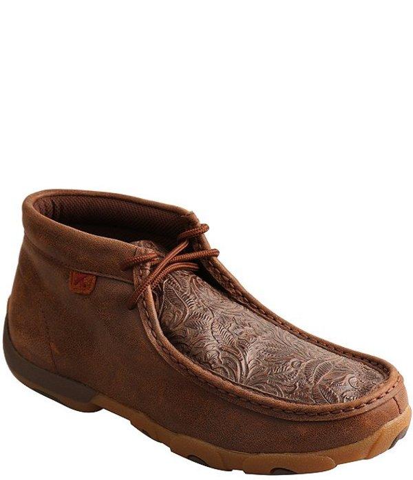 ツイステッドエックス レディース ブーツ・レインブーツ シューズ Women's Tooled Leather Chukka Driving Mocs Brown
