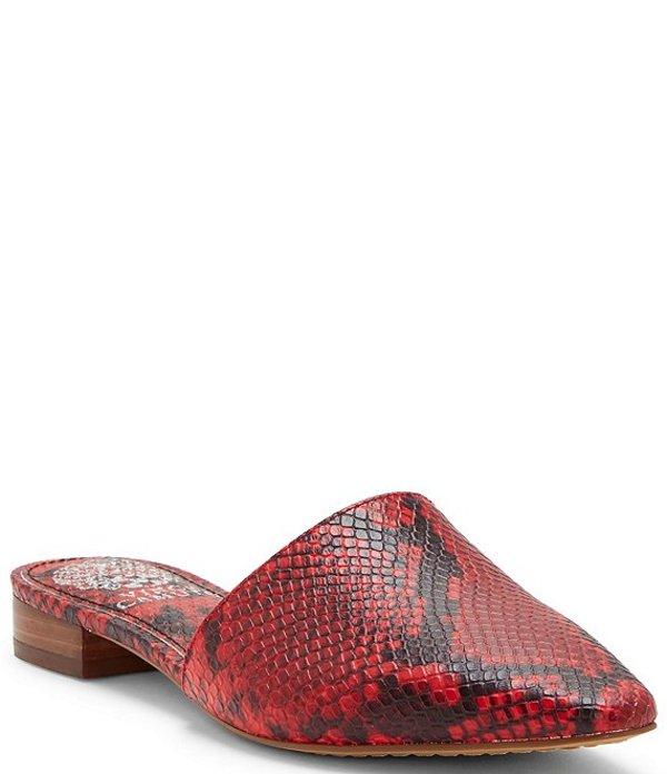 ヴィンスカムート レディース サンダル シューズ Felinial Snake Print Leather Pointed Toe Mules Razz Red