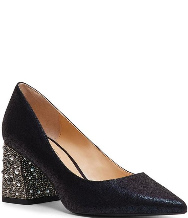 ベッツィジョンソン レディース ヒール シューズ Blue by Betsey Johnson Paige Shimmer Rhinestone Block Heel Pumps Black Shimmer