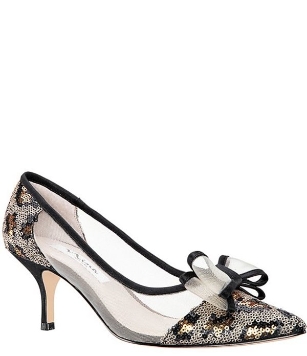 ニナ レディース ヒール シューズ Bianca Leopard Sequin Mesh Bow Pumps Gold/Black Leopard Sequins