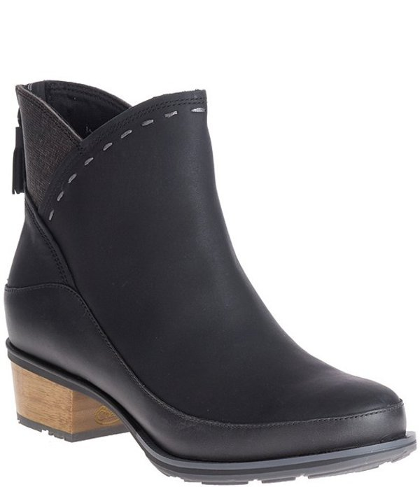 チャコ レディース ブーツ・レインブーツ シューズ Cataluna Waterproof Leather Block Heel Booties Black
