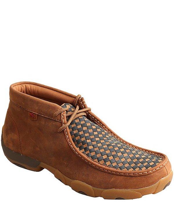 ツイステッドエックス メンズ ドレスシューズ シューズ Men's Driving Woven Leather Chukka Moccasins Brown