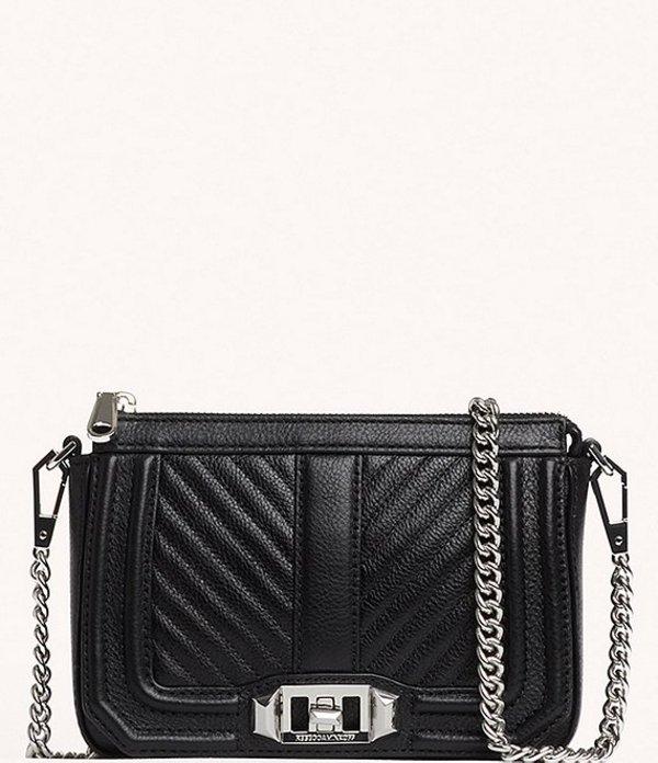 レベッカミンコフ レディース ショルダーバッグ バッグ Chevron Quilted Mini Love Shoulder Bag Black