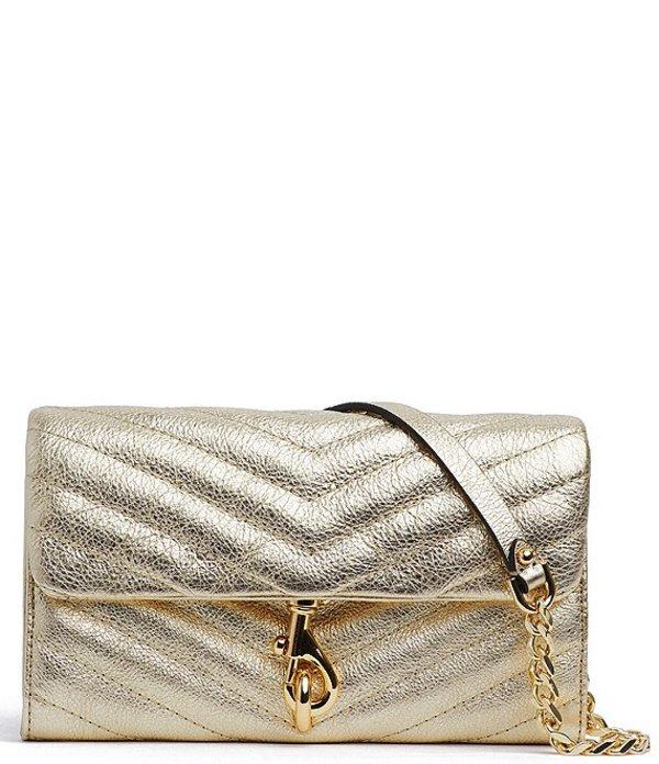 レベッカミンコフ レディース ショルダーバッグ バッグ Edie Wallet On Chain Crossbody Bag Gold