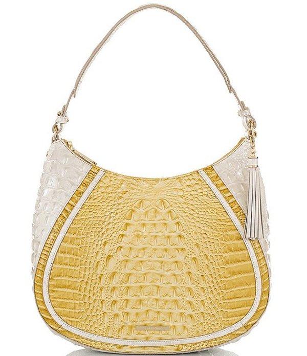 ブランミン レディース ショルダーバッグ バッグ Honeybee Collection Amira Crocodile-Embossed Hobo Bag Lemonade