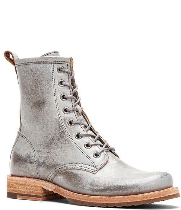 フライ レディース ブーツ・レインブーツ シューズ Veronica Combat Leather Booties Silver Sky