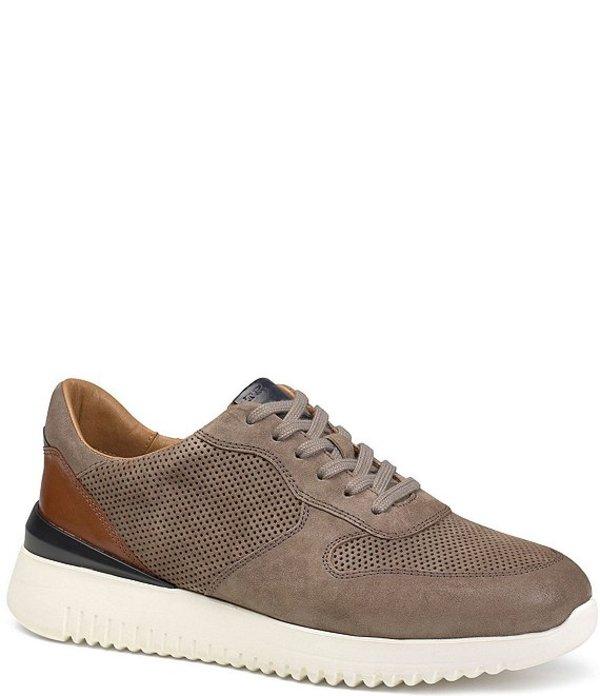 トラスク メンズ ドレスシューズ シューズ Men's Anderson Perforated Suede Sneakers Gray