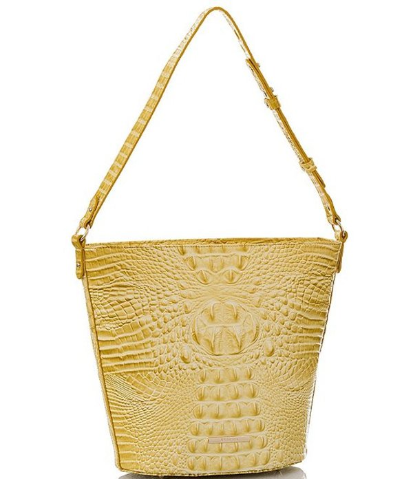 ブランミン レディース ショルダーバッグ バッグ Melbourne Collection Crocodile-Embossed Quinn Bucket Bag Lemonade