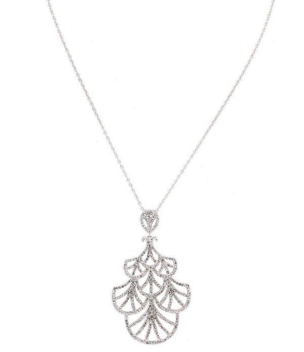 ニナ レディース ネックレス・チョーカー・ペンダントトップ アクセサリー Bisera Swarovski Micro Pave Fan Pendant Necklace Silver/Crystal
