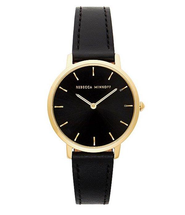 レベッカミンコフ レディース 腕時計 アクセサリー Major Gold-Tone Black Strap Watch Black
