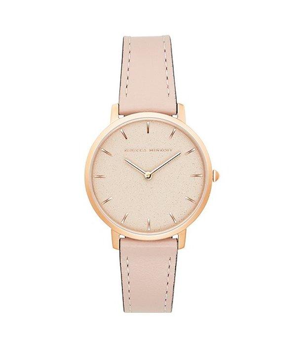 レベッカミンコフ レディース 腕時計 アクセサリー Major Leather Strap Rose Gold Watch Pink