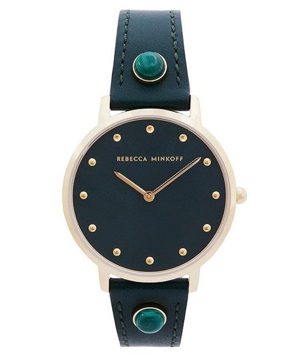 レベッカミンコフ レディース 腕時計 アクセサリー Major Green Leather Watch Green