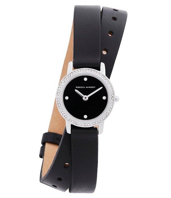 レベッカミンコフ レディース 腕時計 アクセサリー Major Black Leather Strap Watch Black
