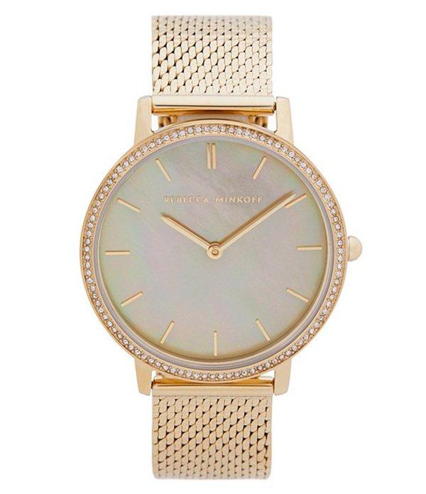 レベッカミンコフ レディース 腕時計 アクセサリー Major Gold Tone Mesh Bracelet Watch Gold