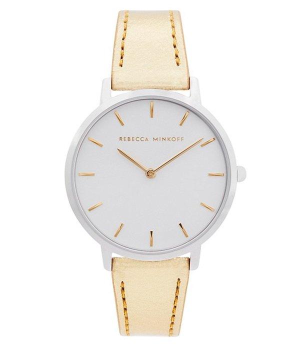 レベッカミンコフ レディース 腕時計 アクセサリー Major Gold Leather Watch Gold