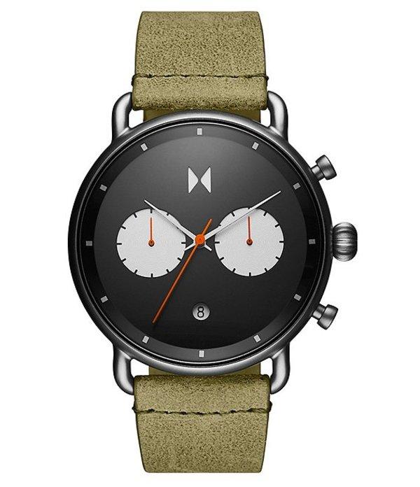 エムブイエムティー レディース 腕時計 アクセサリー Blacktop Moss Green Leather Strap Chronograph Watch Moss Green