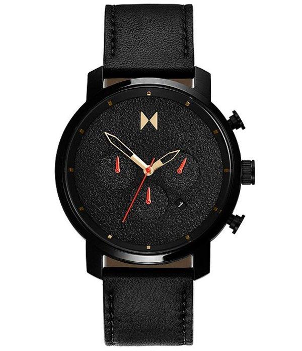 エムブイエムティー メンズ 腕時計 アクセサリー Chronograph Caviar Leather Strap Watch Black