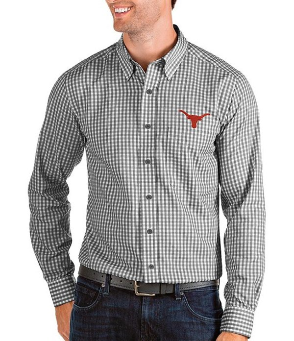 アンティグア メンズ シャツ トップス NCAA Structure Long-Sleeve Woven Shirt Texas Longhorns Black